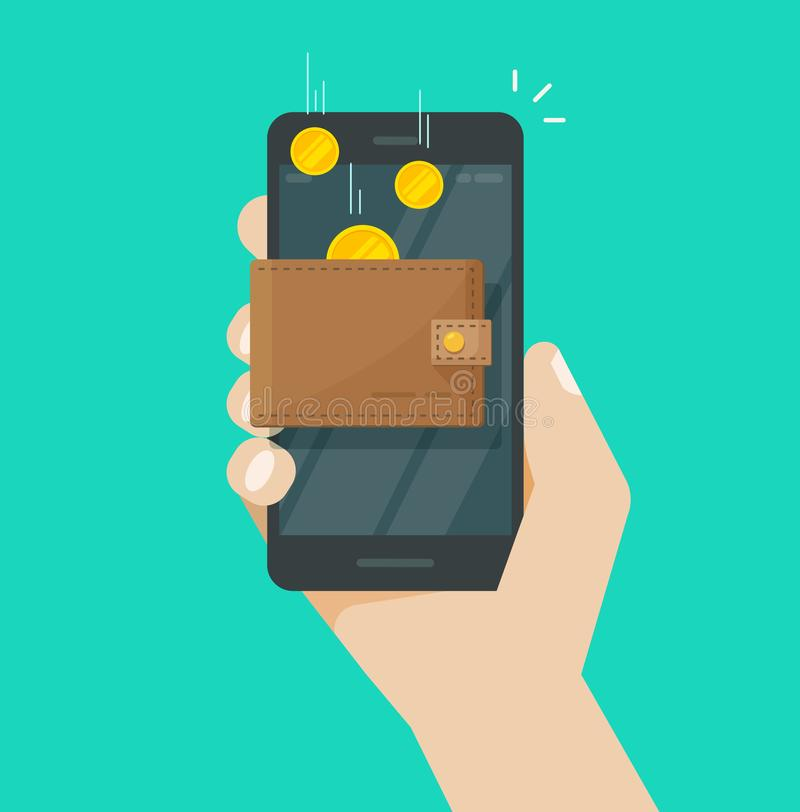 Dinheiro em linha no vetor eletrônico da carteira do telefone celular, moedas lisas da renda que transferem no smartphone da cart ilustração royalty free