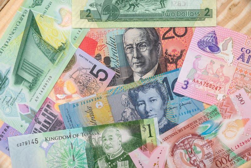 Dinheiro em países do australiano e do Oceania imagens de stock