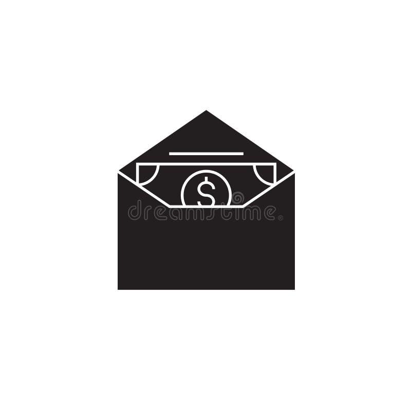 Dinheiro em um ícone do conceito do vetor do preto do envelope Dinheiro em uma ilustração lisa do envelope, sinal ilustração royalty free