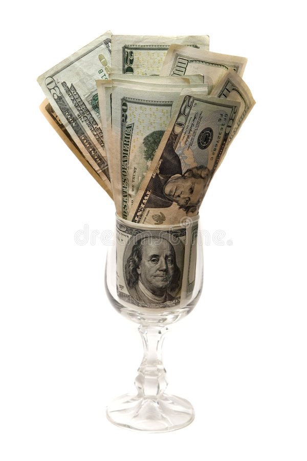 Dinheiro em um vidro imagem de stock royalty free