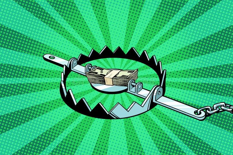Dinheiro em uma armadilha de ferro ilustração stock