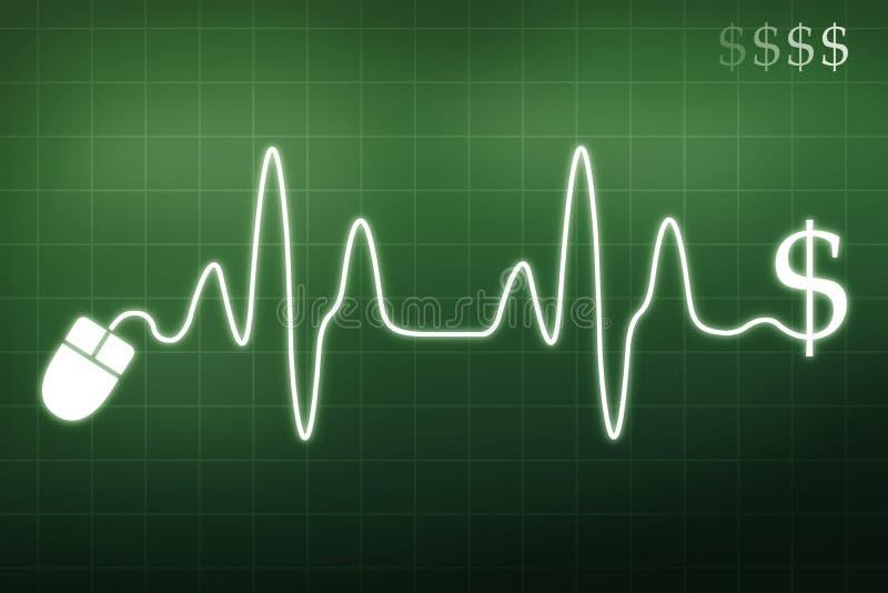 Dinheiro em uma pulsação do coração ilustração stock