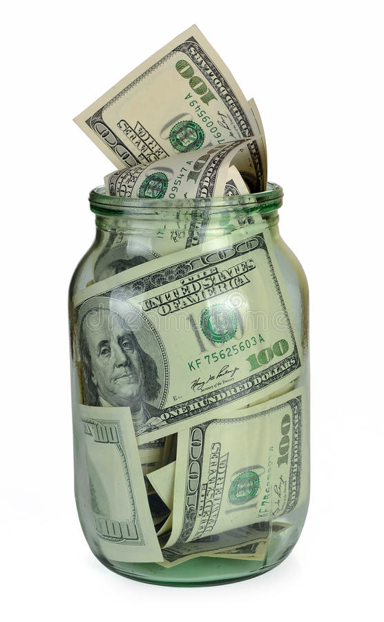 Dinheiro enlatado foto de stock