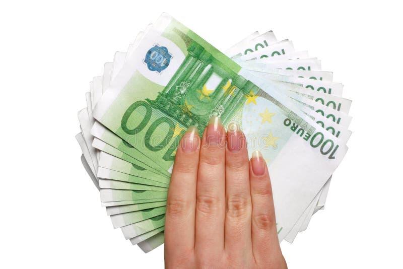 Dinheiro europeu à disposicão imagens de stock