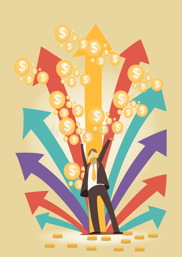Dinheiro feliz do homem de negócios bem sucedido imagem de stock royalty free