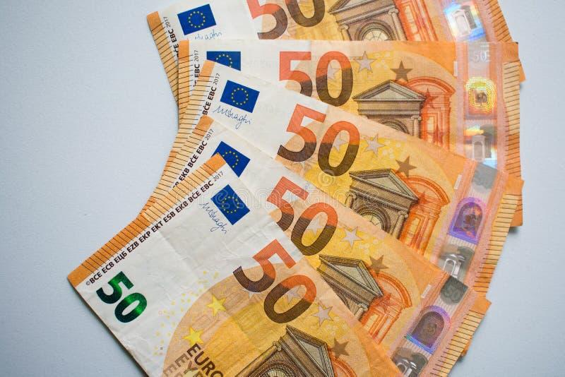Dinheiro, fundo do dinheiro do euro 50 fotografia de stock royalty free