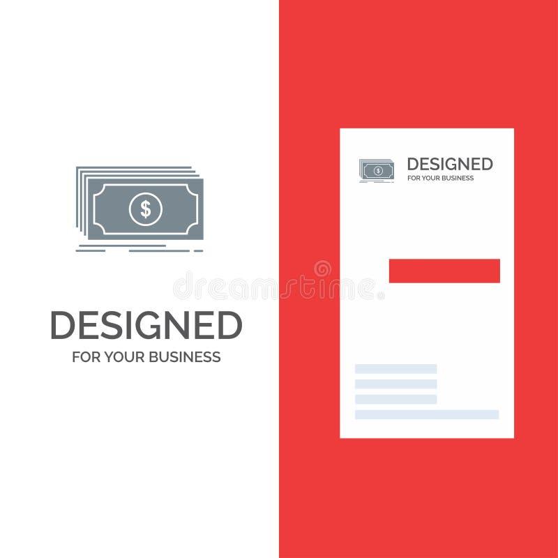 Dinheiro, fundo, transferência, dólar Grey Logo Design e molde do cartão ilustração stock