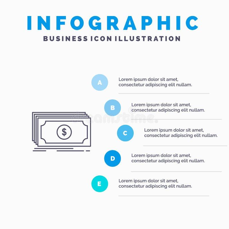 Dinheiro, fundo, transferência, linha ícone do dólar com fundo do infographics da apresentação de 5 etapas ilustração do vetor