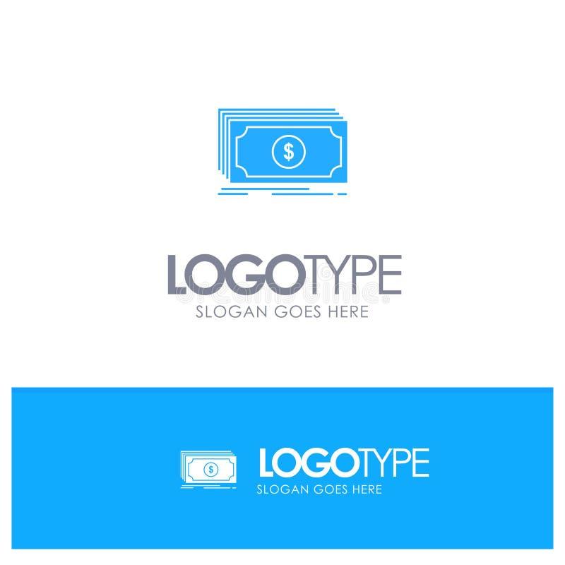 Dinheiro, fundo, transferência, logotipo contínuo azul do dólar com lugar para o tagline ilustração do vetor