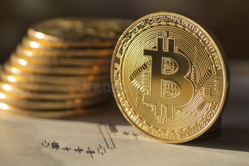 Dinheiro futuro Bitcoin do ` s - imagem conservada em estoque fotos de stock