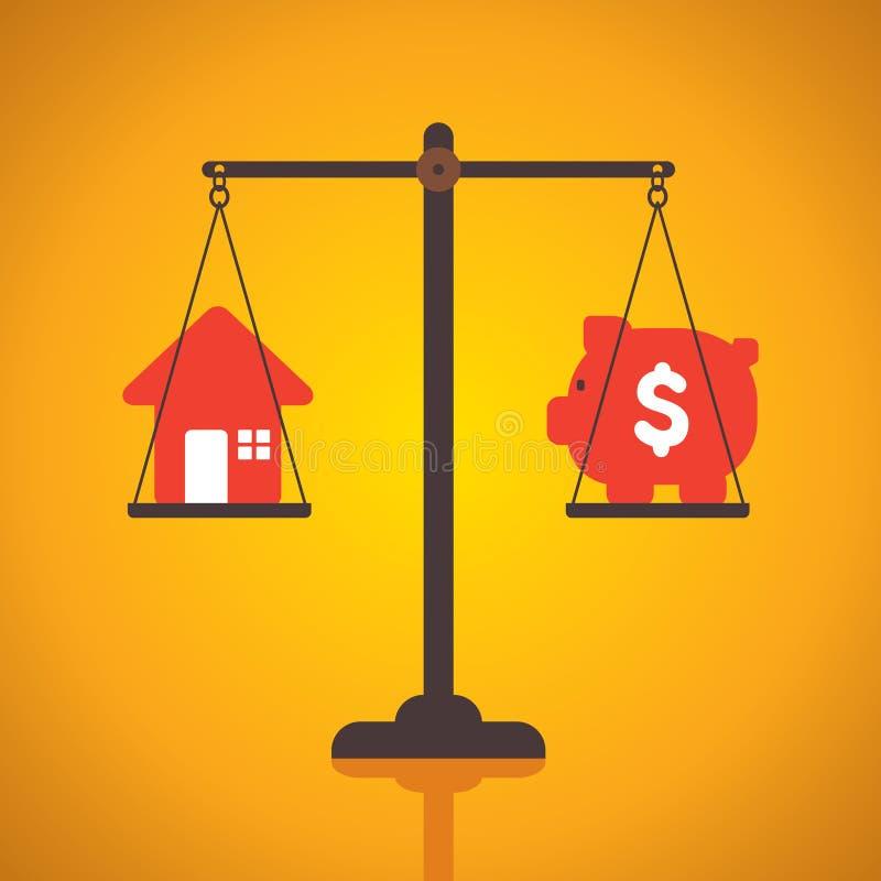 Dinheiro igual da economia para a casa da compra ilustração stock
