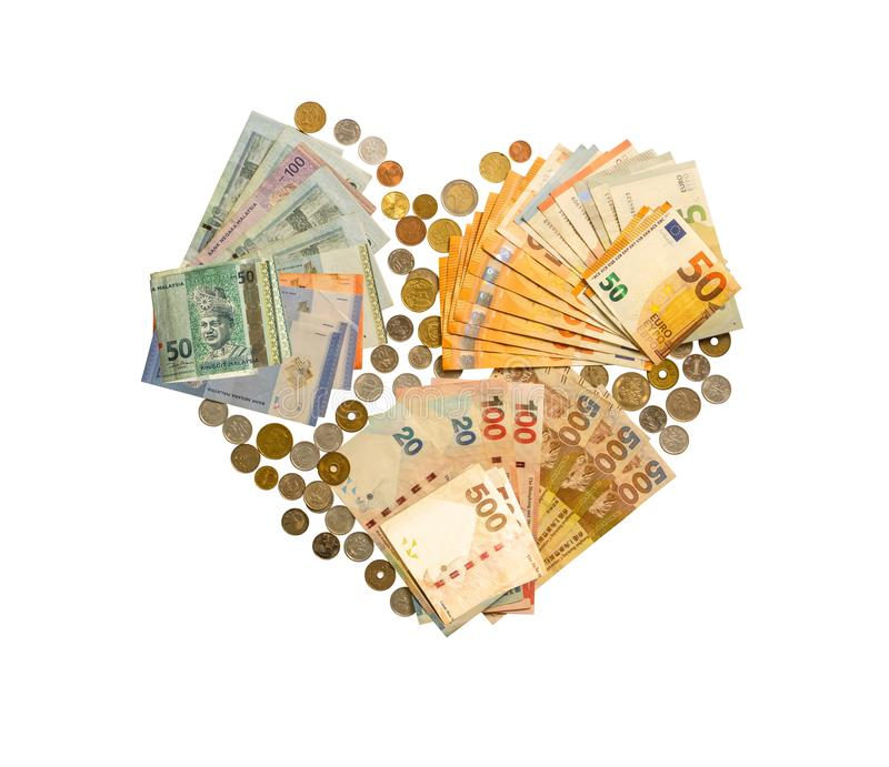 Dinheiro internacional isolado no fundo branco com trajeto de grampeamento, o dinheiro que inclui a cédula do europeu, do Hong Ko fotos de stock royalty free