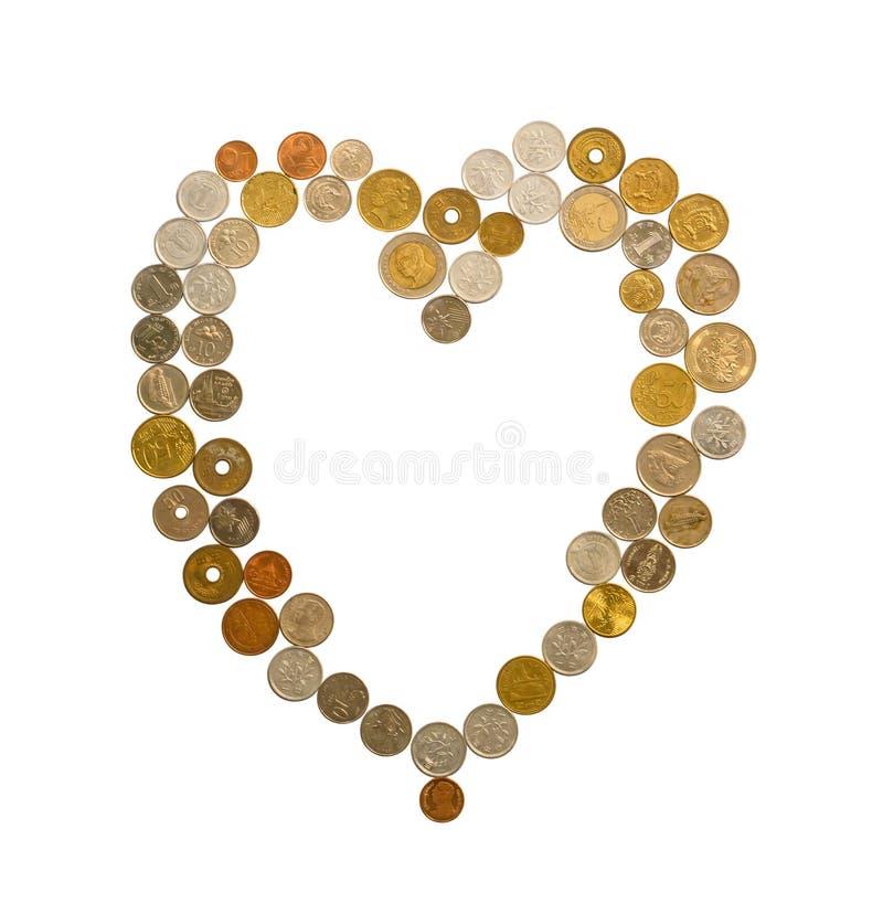 Dinheiro internacional que inclui o europeu, o Hong Kong, o Mal?sia, e o dinheiro tailand?s, s?o dourados, de prata e as moedas d fotografia de stock