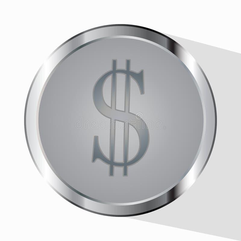 Dinheiro Linha símbolo Prestador de serviços do pagamento As moedas e o sinal de dólar do centavo são isolados em um fundo branco ilustração do vetor