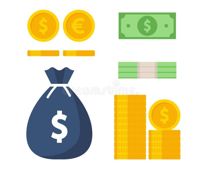 Dinheiro Moeda, cédulas, saco do dinheiro, dólares Vetor ilustração stock