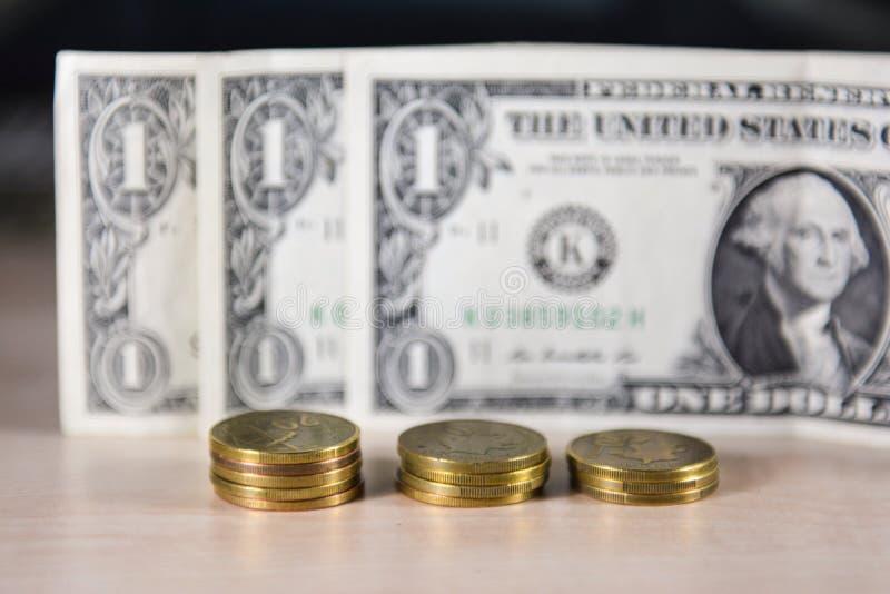 Dinheiro, moedas, troca fotografia de stock