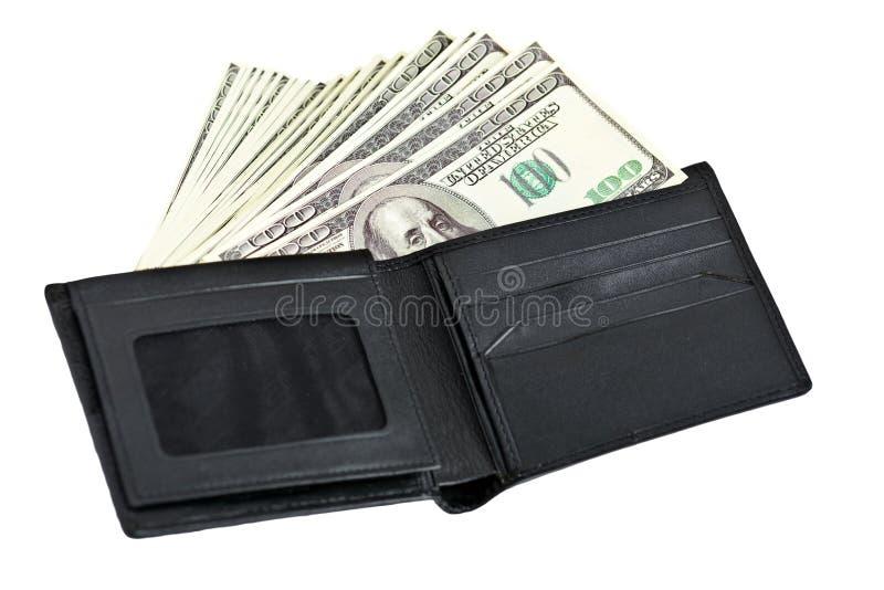 Dinheiro na carteira de couro fotos de stock