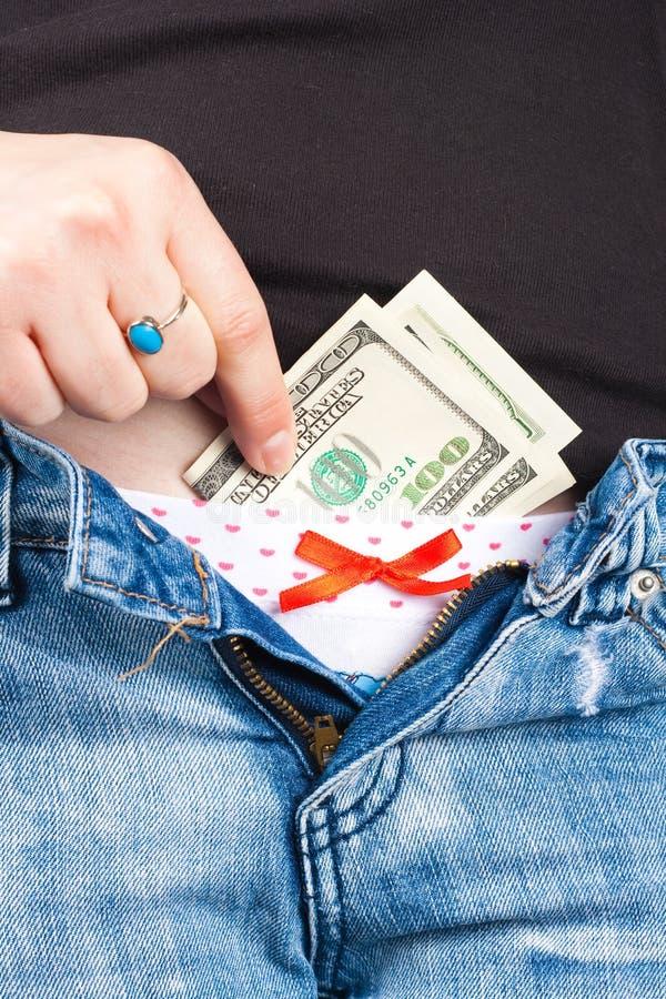 Dinheiro na cuecas imagem de stock