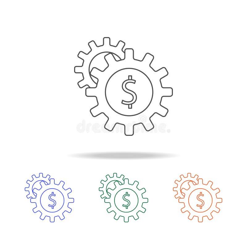 dinheiro no ícone da engrenagem Elementos da operação bancária em multi ícones coloridos Ícone superior do projeto gráfico da qua ilustração stock