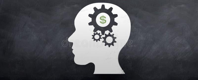 Dinheiro no cérebro ilustração royalty free