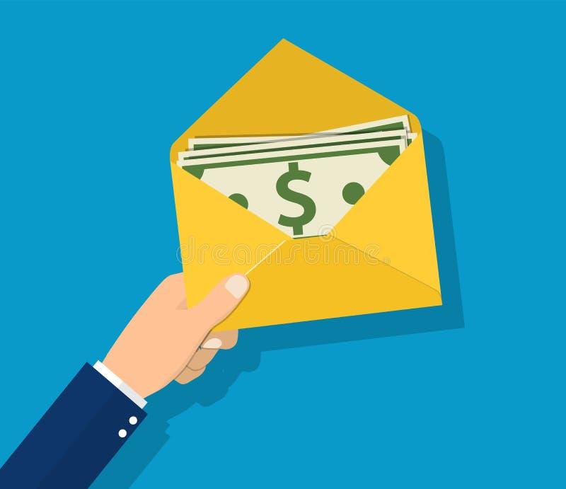 Dinheiro no homem de negócios disponivel da posse do envelope ilustração royalty free