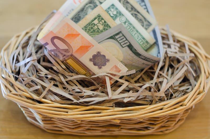 Dinheiro no ninho fotografia de stock royalty free