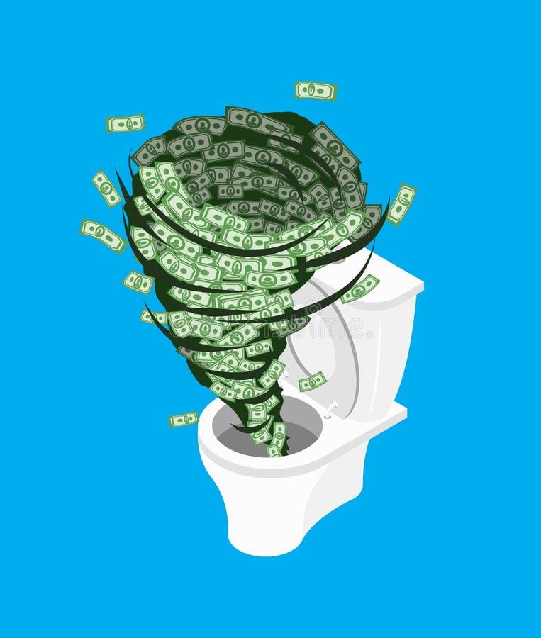 Dinheiro no toalete Lave descontam fora dentro o wc Ilustração do vetor ilustração do vetor