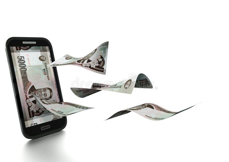 dinheiro norte-coreano rendido 3D inclinado e isolado no fundo branco ilustração do vetor