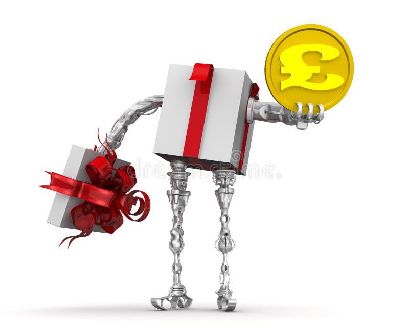 Dinheiro - o melhor presente Conceito com a moeda BRITÂNICA ilustração royalty free