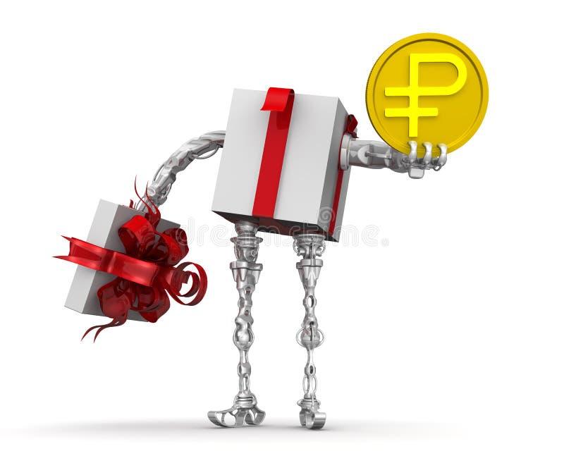 Dinheiro - o melhor presente Conceito com a moeda do russo ilustração do vetor