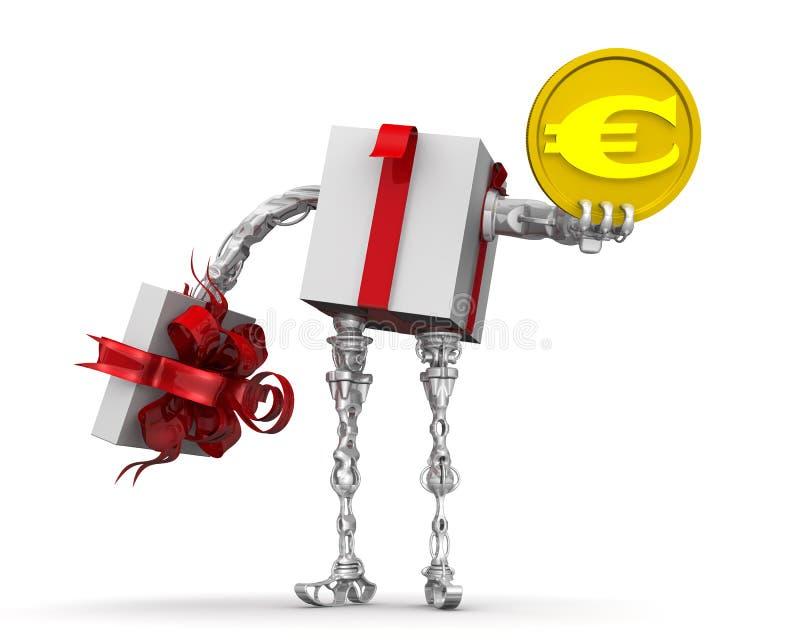 Dinheiro - o melhor presente Conceito com a moeda europeia ilustração royalty free