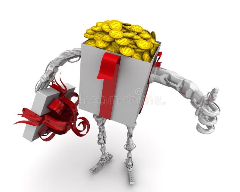 Dinheiro - o melhor presente Conceito com moedas americanas ilustração royalty free