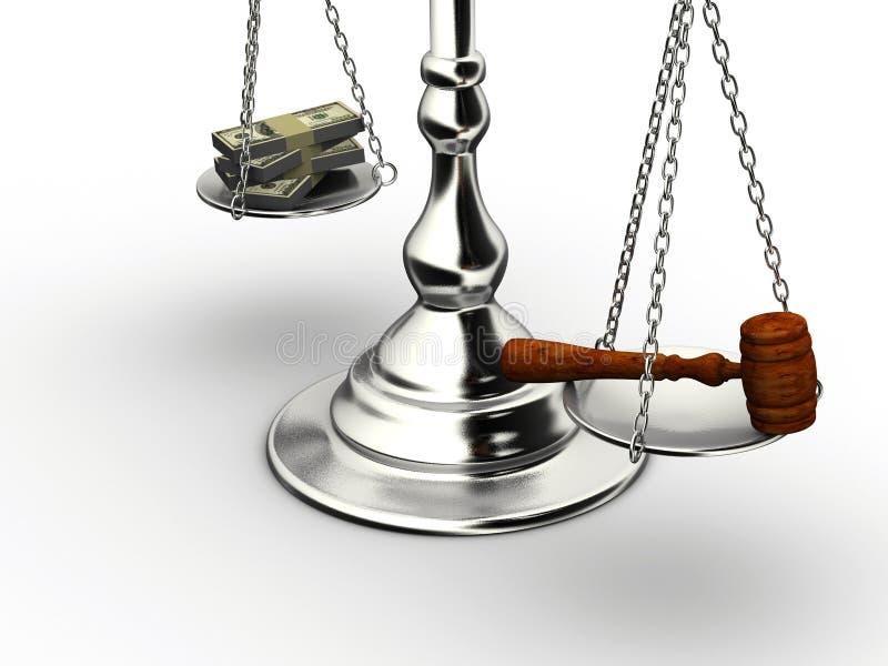 Dinheiro ou justiça ilustração stock