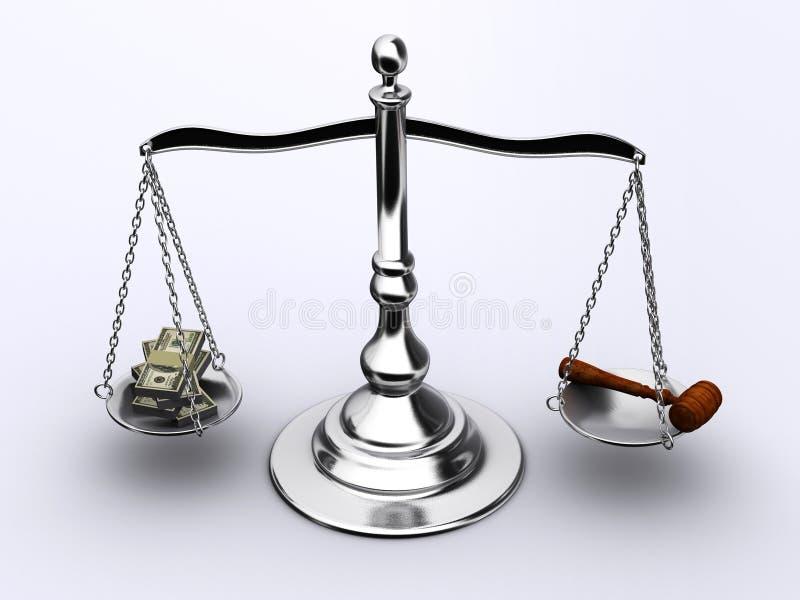 Dinheiro ou justiça ilustração royalty free