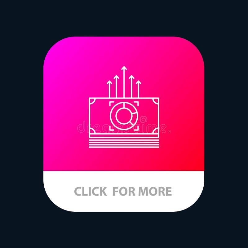 Dinheiro, pacote, fanfarrões, botão móvel do App de transferência Android e linha versão do IOS ilustração royalty free