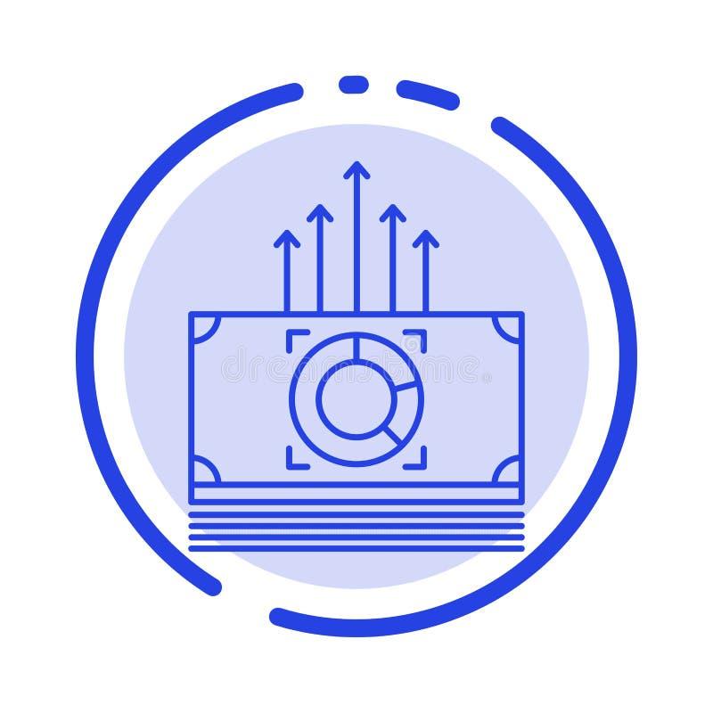 Dinheiro, pacote, fanfarrões, linha pontilhada azul linha ícone de transferência ilustração stock