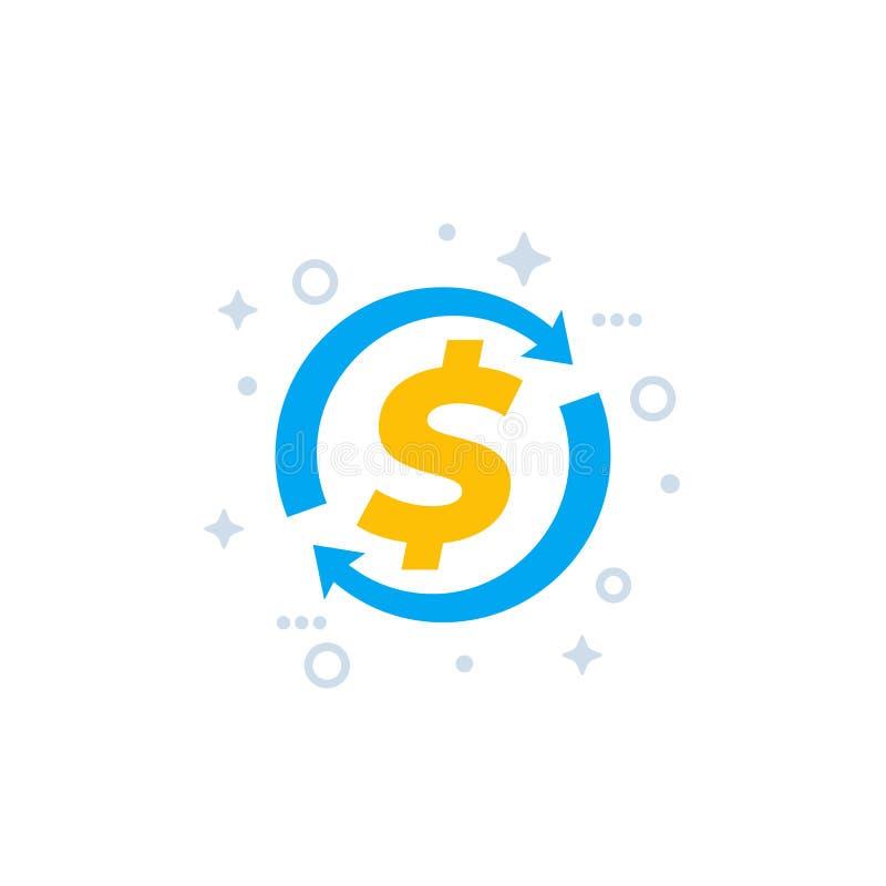Dinheiro para trás, reembolso do dinheiro e ícone do vetor da troca ilustração do vetor