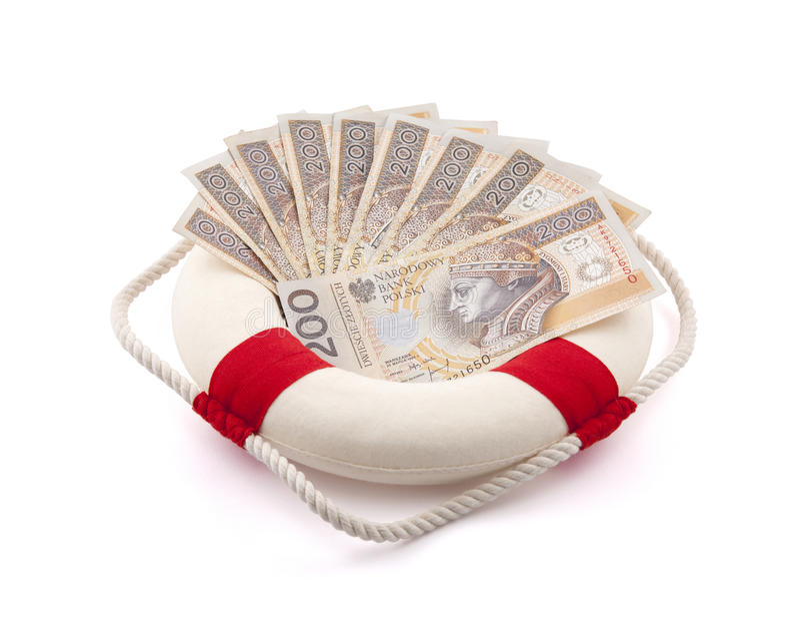 Dinheiro polonês em lifebuoy imagem de stock