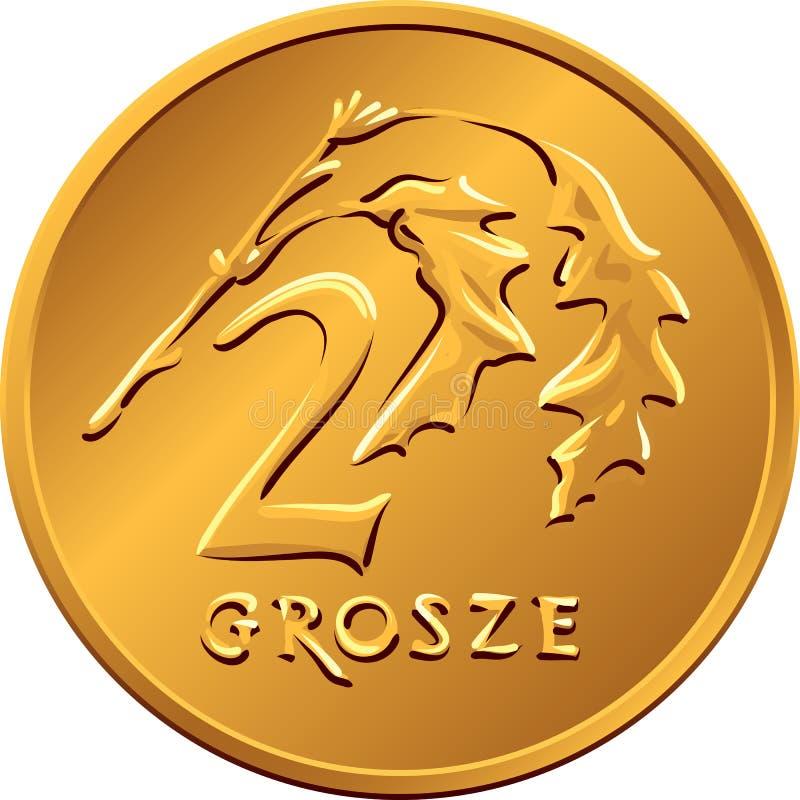 Dinheiro polonês reverso moeda de cobre de dois groszy ilustração stock