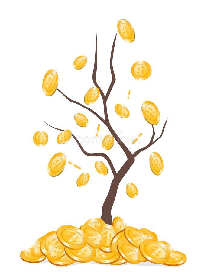 Dinheiro que cai da árvore ilustração stock