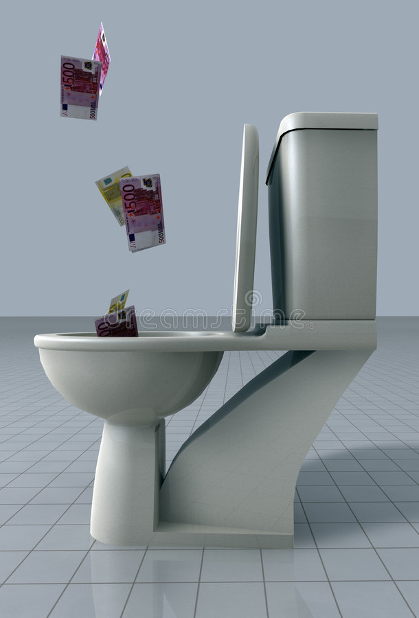 Dinheiro que cai no toalete ilustração stock