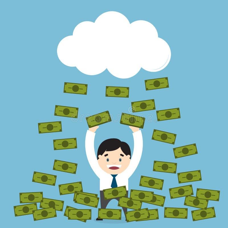 Dinheiro que chove sobre um homem de negócios ilustração royalty free