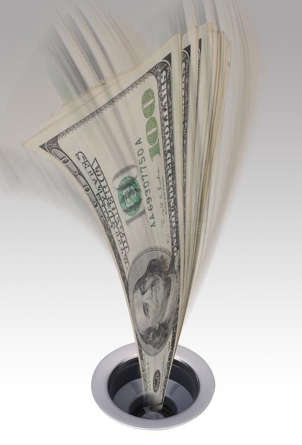 Dinheiro que vai abaixo do dreno ilustração stock