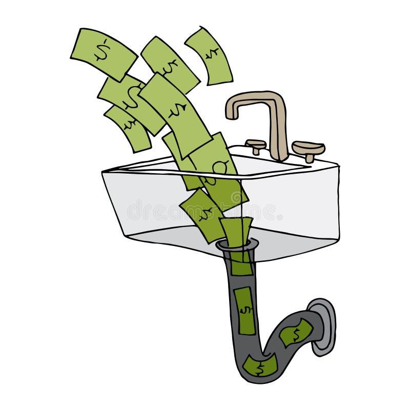 Dinheiro que vai abaixo do dreno ilustração do vetor