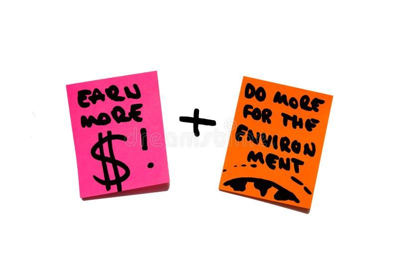 Dinheiro, riqueza, economia contra o ambiente, terra, responsabilidade. notas de post-it. imagem de stock royalty free
