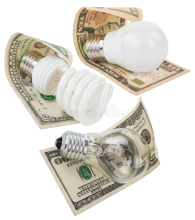 Dinheiro salvar em tipos diferentes foto de stock