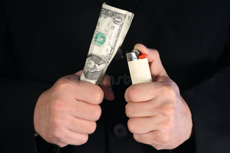 Dinheiro Waste foto de stock royalty free