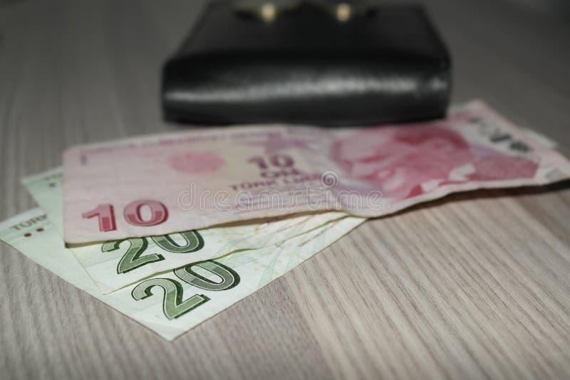 Dinheiros e carteira turcos fotos de stock royalty free