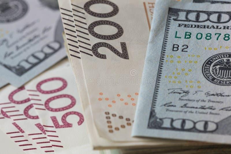 Dinheiros poloneses, zloty, e conceito americano da troca dos dólares/moeda fotografia de stock royalty free