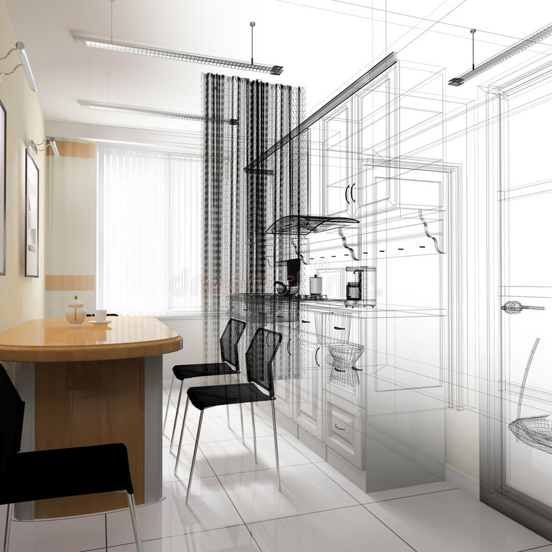 Dining area in a modern office royalty free illustration